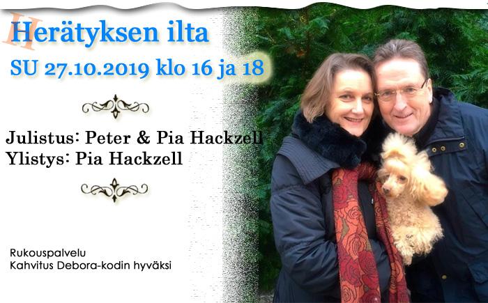 SU 27.10.2019 Herätyksen ilta – Peter ja Pia Hackzell klo 16 ja 18