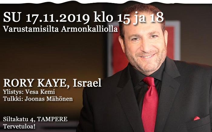 SU 17.11.2019 Herätyksen ilta klo 15 ja 18 – Rory Kaye, Israel