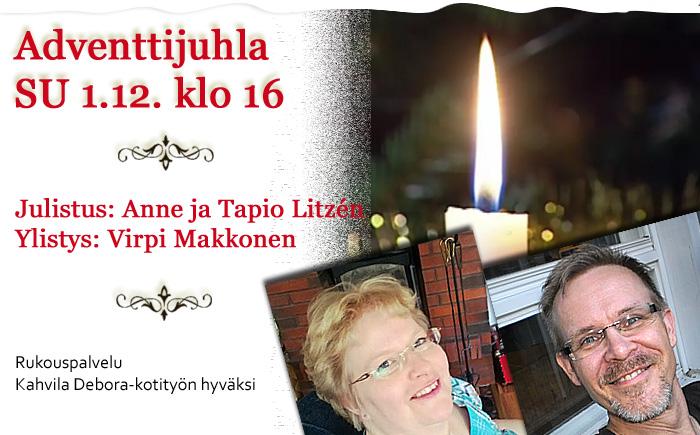 SU 1.12.2019 klo 16 – Adventtijuhla – Anne ja Tapio Litzén