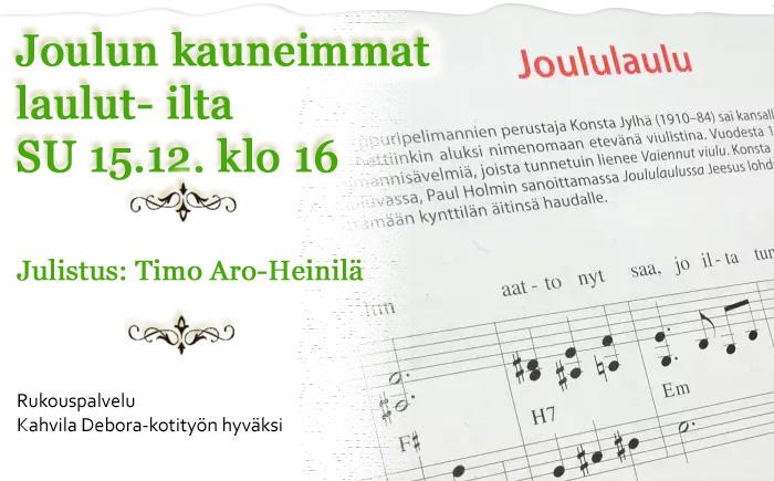 SU 15.12.2019 klo 16 Joulun kauneimmat laulut -ilta