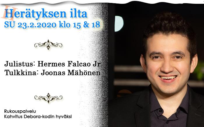 SU 23.2.2020 klo 15 ja 18  Herätyksen ilta – Hermes Falcao Jr Brasiliasta