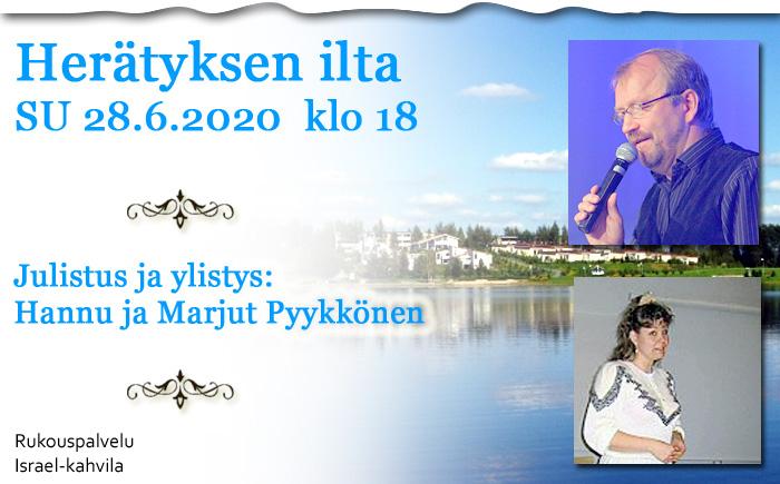SU 28.6.2020 klo 18 Herätyksen ilta – Hannu ja Marjut Pyykkönen