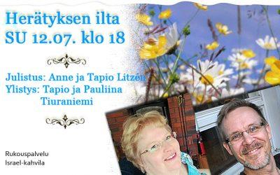 SU 12.7.2020 klo 18 Herätyksen ilta – Anne ja Tapio Litzén