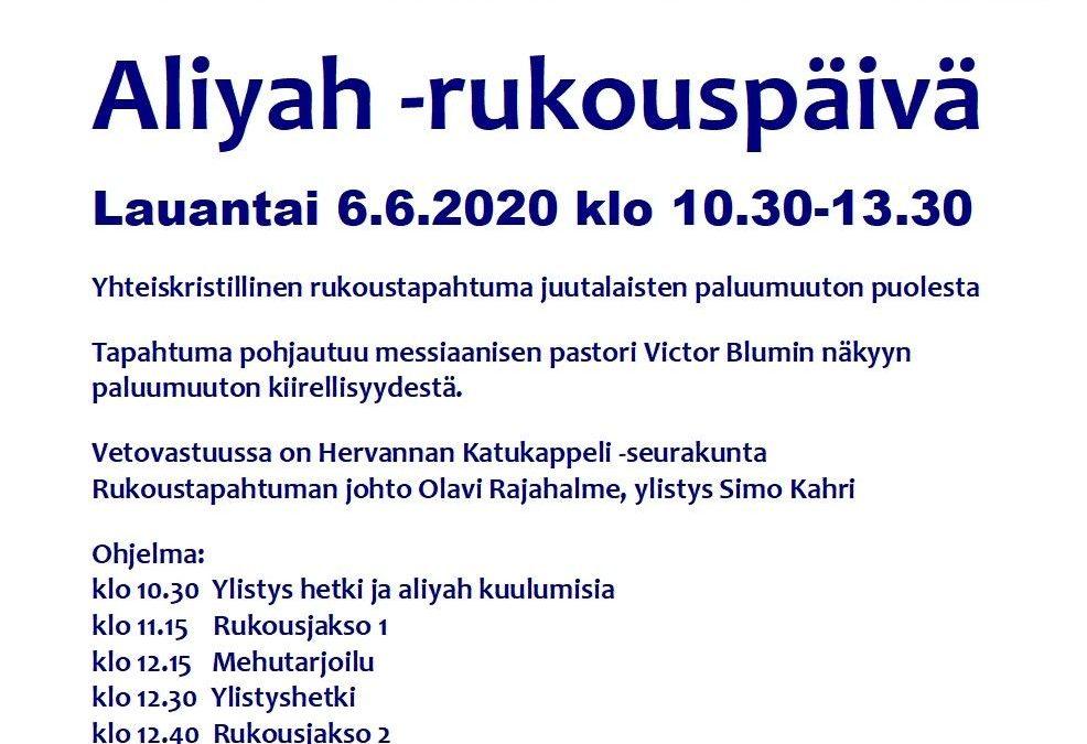 Aliyah-rukouspäivä 6.6.2020 klo 10.30-13.30 Katukappeli – Hervanta