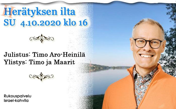 SU 4.10.2020 klo 16 Herätyksen ilta – Timo Aro-Heinilä
