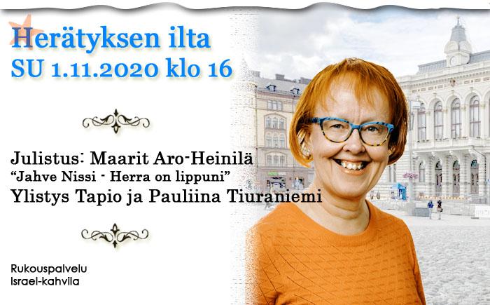 SU 01.11.2020 klo 16 Herätyksen ilta – Maarit Aro-Heinilä