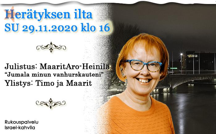 SU 29.11.2020 klo 16 Herätyksen ilta – Maarit Aro-Heinilä
