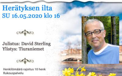 SU 16.05.2021 klo 16 Herätyksen ilta – David Sterling