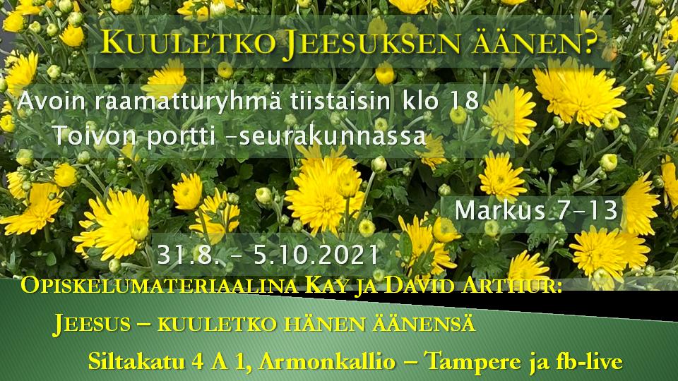 Tiistaisin 31.8. – 5.10.2021 Raamatturyhmä klo 18: Kuuletko Jeesuksen äänen?